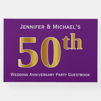 Purple, Faux Gold 50th Wedding Anniversary Party Guest Book