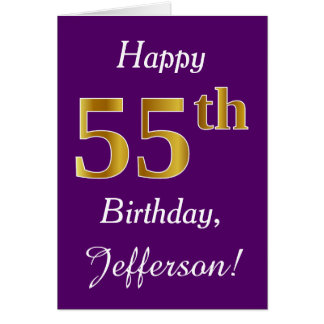 Purple, Faux Gold 55th Birthday + Custom Name Card