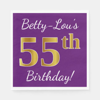Purple, Faux Gold 55th Birthday + Custom Name Disposable Napkins
