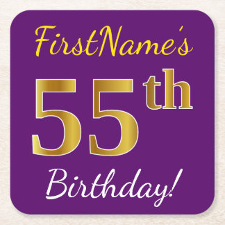Purple, Faux Gold 55th Birthday + Custom Name Square Paper Coaster