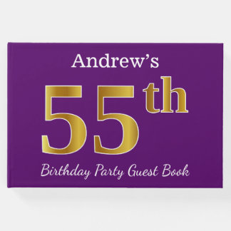 Purple, Faux Gold 55th Birthday Party; Custom Name Guest Book