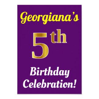 Purple, Faux Gold 5th Birthday Celebration + Name Card