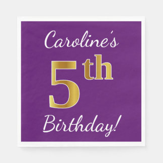 Purple, Faux Gold 5th Birthday + Custom Name Disposable Napkin