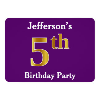 Purple, Faux Gold 5th Birthday Party + Custom Name Card