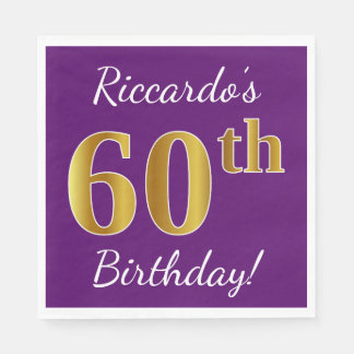 Purple, Faux Gold 60th Birthday + Custom Name Paper Napkin
