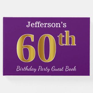 Purple, Faux Gold 60th Birthday Party; Custom Name Guest Book