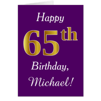 Purple, Faux Gold 65th Birthday + Custom Name Card