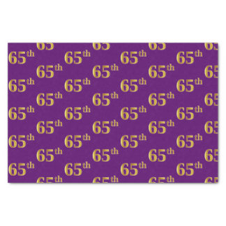 Purple, Faux Gold 65th (Sixty-Fifth) Event Tissue Paper