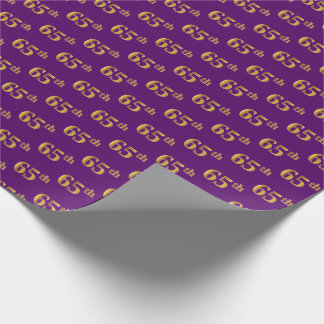 Purple, Faux Gold 65th (Sixty-Fifth) Event Wrapping Paper
