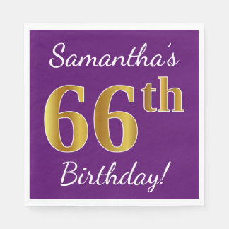 Purple, Faux Gold 66th Birthday + Custom Name Paper Napkin