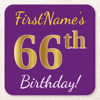 Purple, Faux Gold 66th Birthday + Custom Name Square Paper Coaster