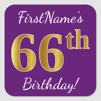 Purple, Faux Gold 66th Birthday + Custom Name Square Sticker