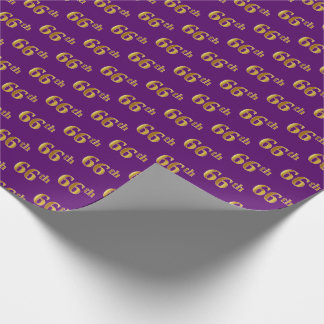 Purple, Faux Gold 66th (Sixty-Sixth) Event Wrapping Paper