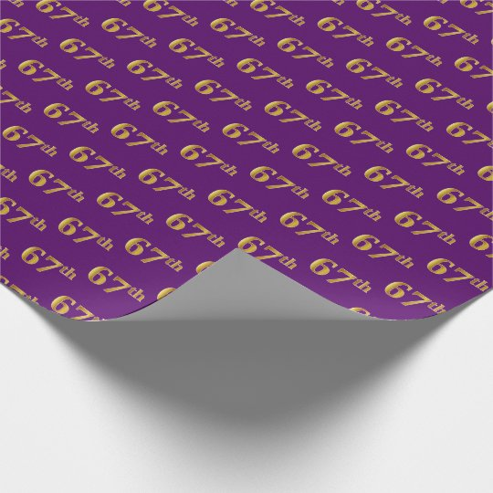 Purple, Faux Gold 67th (Sixty-Seventh) Event Wrapping Paper