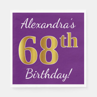 Purple, Faux Gold 68th Birthday + Custom Name Paper Napkins