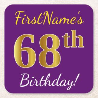Purple, Faux Gold 68th Birthday + Custom Name Square Paper Coaster