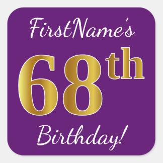 Purple, Faux Gold 68th Birthday + Custom Name Square Sticker