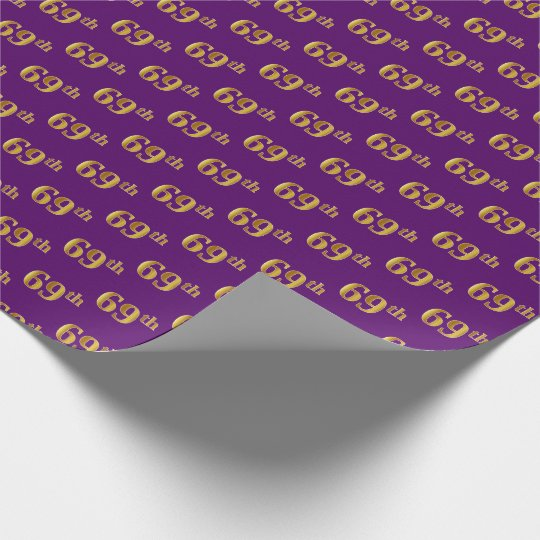 Purple, Faux Gold 69th (Sixty-Ninth) Event Wrapping Paper