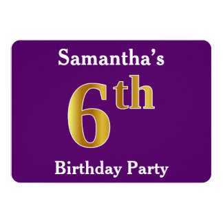 Purple, Faux Gold 6th Birthday Party + Custom Name Card