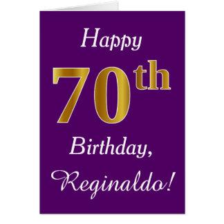 Purple, Faux Gold 70th Birthday + Custom Name Card