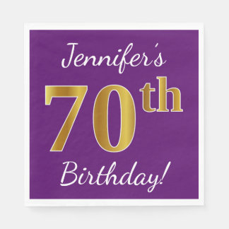Purple, Faux Gold 70th Birthday + Custom Name Paper Napkins