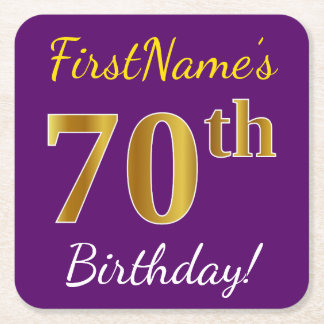 Purple, Faux Gold 70th Birthday + Custom Name Square Paper Coaster