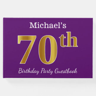 Purple, Faux Gold 70th Birthday Party; Custom Name Guest Book