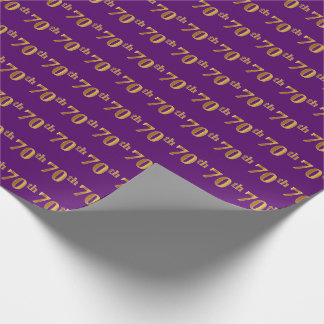 Purple, Faux Gold 70th (Seventieth) Event Wrapping Paper