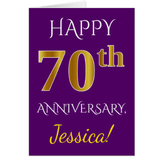 Purple, Faux Gold 70th Wedding Anniversary + Name Card