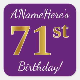 Purple, Faux Gold 71st Birthday + Custom Name Square Sticker