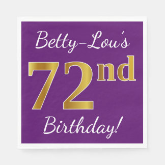 Purple, Faux Gold 72nd Birthday + Custom Name Paper Napkins