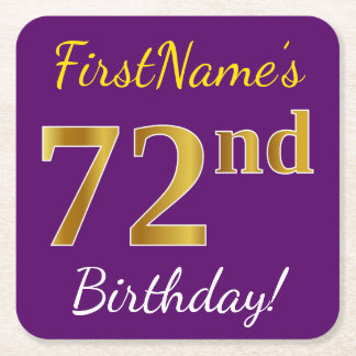 Purple, Faux Gold 72nd Birthday + Custom Name Square Paper Coaster