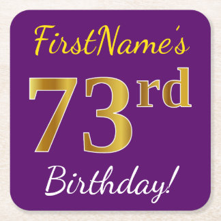 Purple, Faux Gold 73rd Birthday + Custom Name Square Paper Coaster