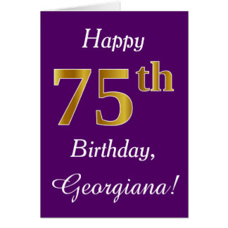 Purple, Faux Gold 75th Birthday + Custom Name Card