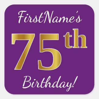 Purple, Faux Gold 75th Birthday + Custom Name Square Sticker