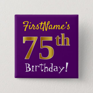 Purple, Faux Gold 75th Birthday, With Custom Name 2 Inch Square Button