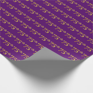 Purple, Faux Gold 75th (Seventy-Fifth) Event Wrapping Paper