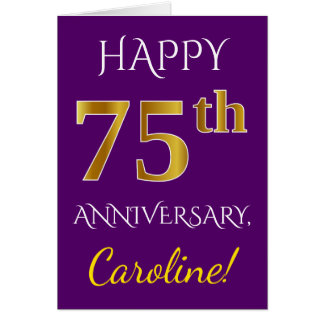 Purple, Faux Gold 75th Wedding Anniversary + Name Card