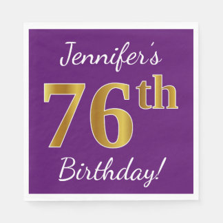 Purple, Faux Gold 76th Birthday + Custom Name Disposable Napkins