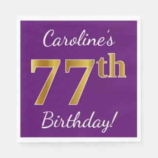 Purple, Faux Gold 77th Birthday + Custom Name Disposable Napkins