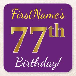 Purple, Faux Gold 77th Birthday + Custom Name Square Paper Coaster