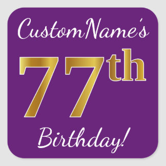 Purple, Faux Gold 77th Birthday + Custom Name Square Sticker