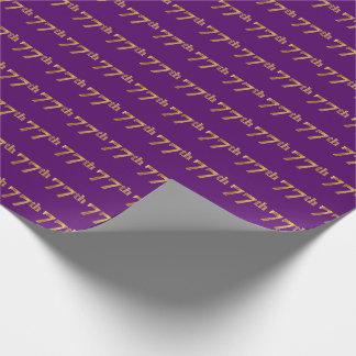 Purple, Faux Gold 77th (Seventy-Seventh) Event Wrapping Paper