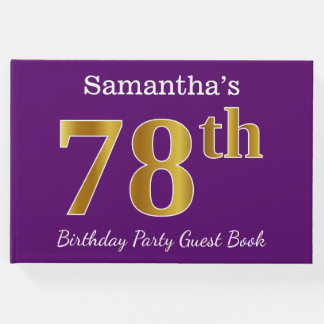 Purple, Faux Gold 78th Birthday Party; Custom Name Guest Book