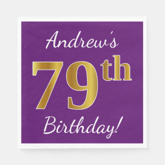 Purple, Faux Gold 79th Birthday + Custom Name Disposable Napkin