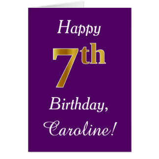 Purple, Faux Gold 7th Birthday + Custom Name Card