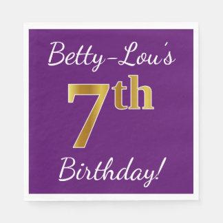 Purple, Faux Gold 7th Birthday + Custom Name Disposable Napkin