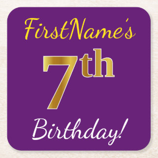 Purple, Faux Gold 7th Birthday + Custom Name Square Paper Coaster