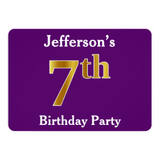 Purple, Faux Gold 7th Birthday Party + Custom Name Card