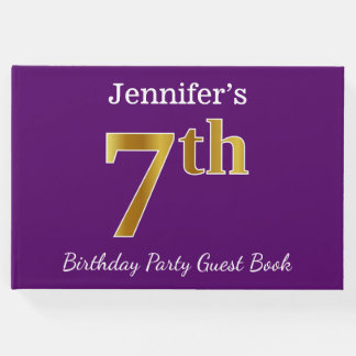 Purple, Faux Gold 7th Birthday Party + Custom Name Guest Book
